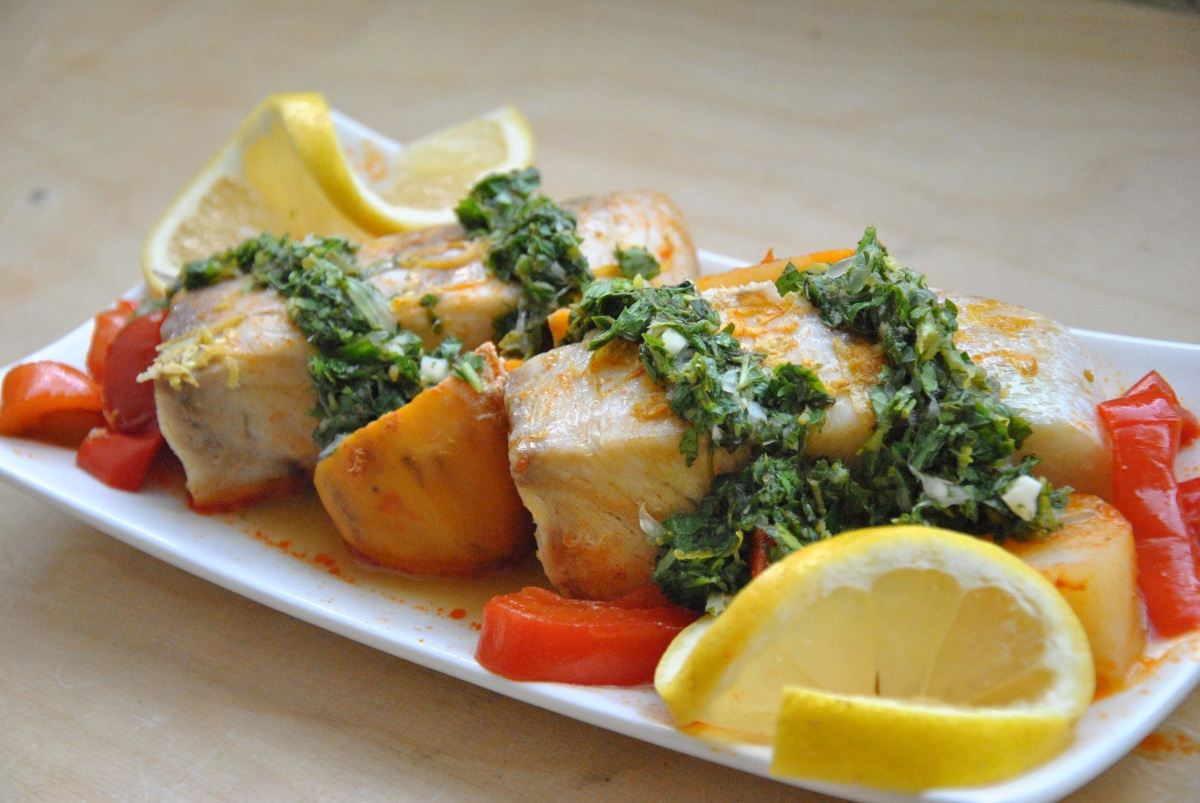 Moroccan-Style Fish with Cilantro-Mint Chimichurri