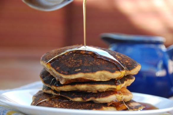 No-Fuss Vegan Banana Pancakes With Caramelized Fruit Sauce - The Graceful Kitchen