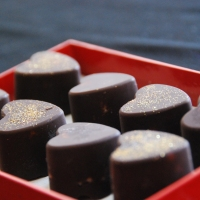 Minty-Marzipan Filled Chocolate Hearts